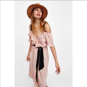 New Zara pink ruffle off shoulder dress